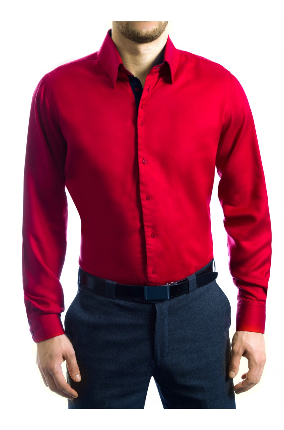 Slim fit business raspberry and navy blue tencel shirts by for Navy slim fit shirt