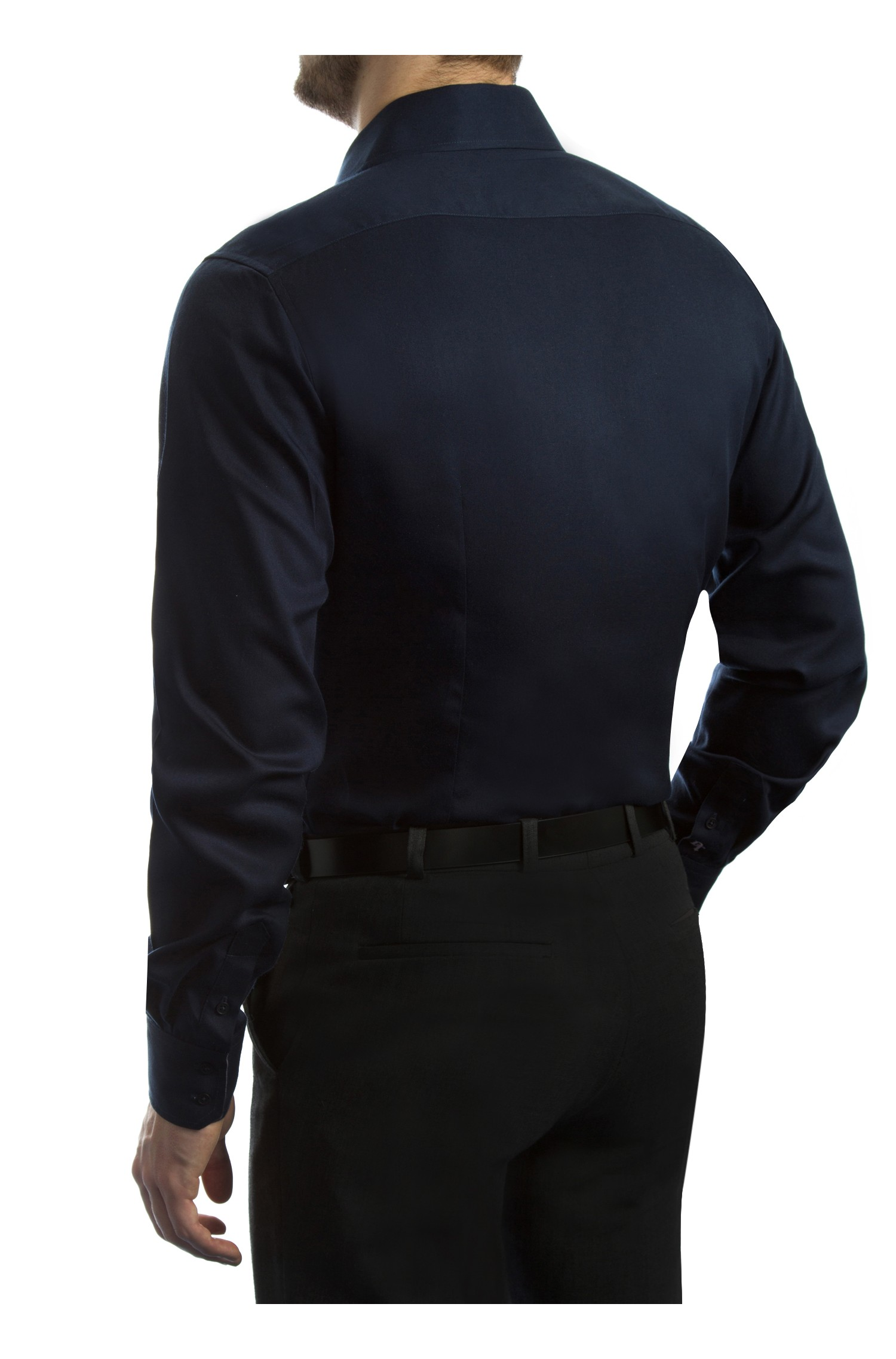 Chemise d contract e coupe slim fit romano for Navy slim fit shirt