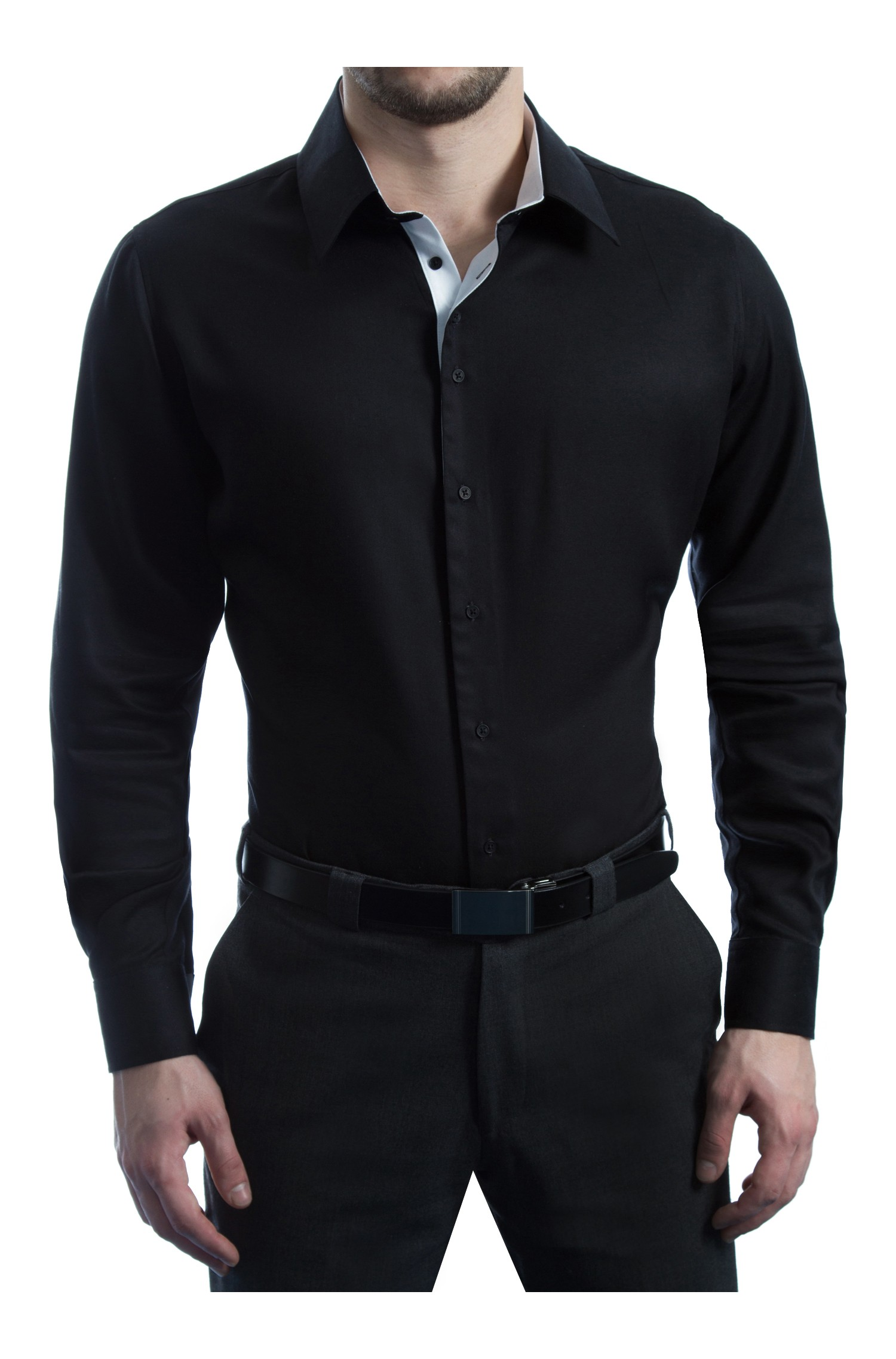 chemise business noir elegance et blanc pur. Black Bedroom Furniture Sets. Home Design Ideas