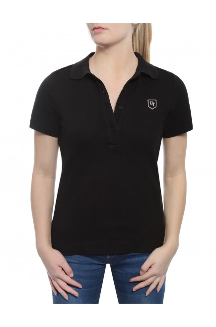 POLO SHORT SLEEVE BLACK IN PRICKED JERSEY COTTON BRUSHED