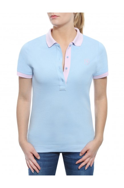 POLO SHORT SLEEVE TWO-COLORED SKY BLUE AND PINK IN PRICKED JERSEY COTTON BRUSHED