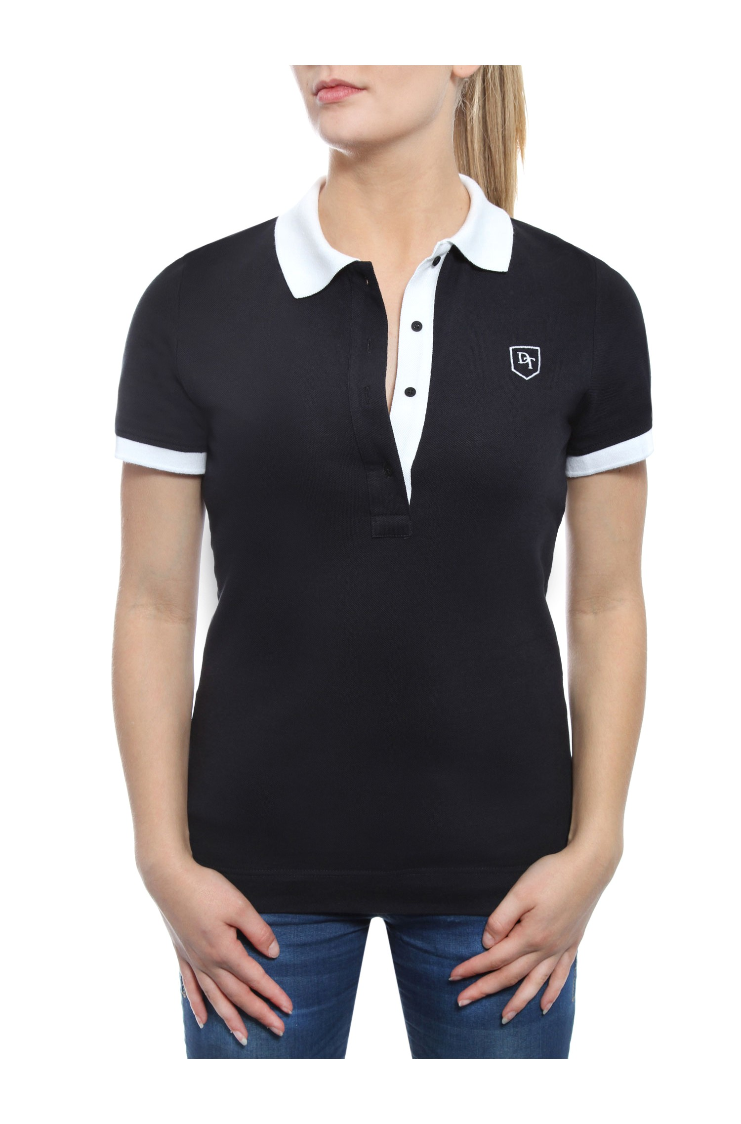 dc8a69966864 POLO SHORT SLEEVE TWO-COLORED NAVY BLUE AND WHITE IN PRICKED JERSEY COTTON  BRUSHED